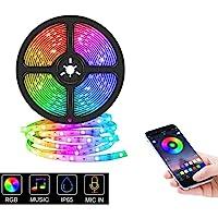Tira de Luz LED Bluetooth, Tira Luces Led RGB 5M / 16.4 pies Sincronizar con Music Iluminación a Través de APP, 5050 RGB…