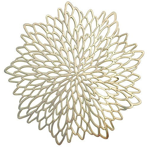 OCCASIONS 10 PACK Pressed Vinyl Metallic Placemats/Charger/Wedding Accent Centerpiece (10 pcs, Round Gold Leaf) -
