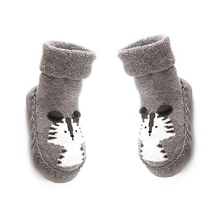 NiceButy 14cm bebé antideslizantes calcetines botas transpirables zapatos de los deslizadores de algodón de dibujos animados