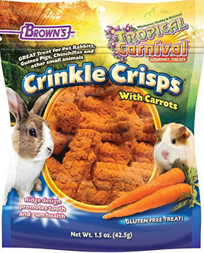 F.M. Brown's Tropical Carnival Crinkle Crisps with Carrots, Gluten Free Small Animal Treats with Dental Ridges to Promote Tooth and Gum Care, 1.5-Ounce 61gUazB6k9L