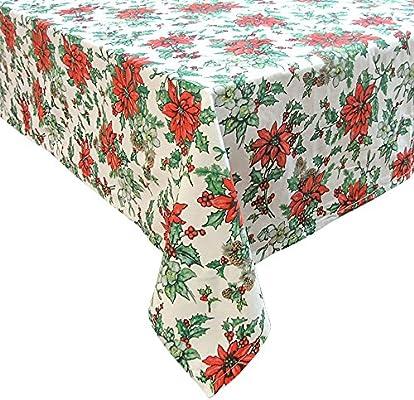Mantel de mesa - Motivo navideño - 100 % algodón - Flor de Navidad - 180 cm de diámetro (circular): Amazon.es: Hogar