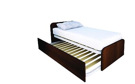 MOBILFINO CAMERETTE 964R Letto cameretta 80x190 da singolo a matrimoniale,  design personalizzabile con secondo letto estraibile e sollevabile WENGE