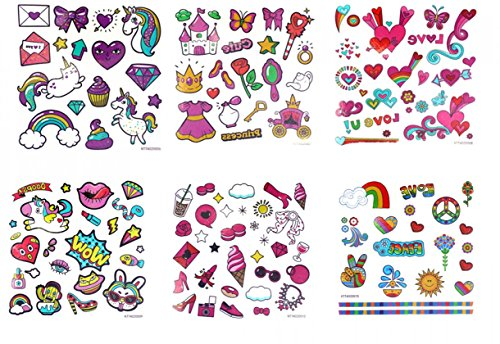 GGSELL GGSELL look like real temporary tattoos 6pcs Cartoon tattoos for kids fake tattoo stickers in a packages,including hearts,girls toys,high heel,rose,animals,horse,diamond,food,rainbow, etc.