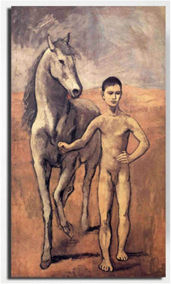 WJWGP Pablo Picasso NiñO LíDer Caballo CláSico Lienzo Pintura Cubismo Poster ImpresióN Surrealismo Pared Arte Moderno Hogar Decoracion Cuadros 50x90cm No Marco