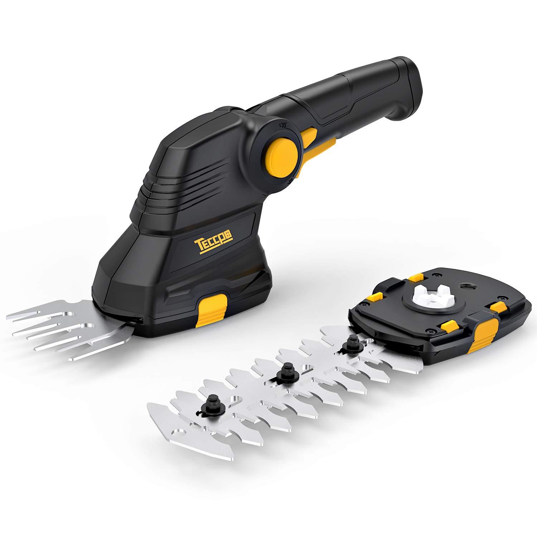 TECCPO Cordless Grass Shear, 3.6V Cordless Shrub Shear and Hedge Trimmer 1.5 Ah, 100min USB Fast Loading and Rotating Handle, Cutting Width 70mm - TDGS01G