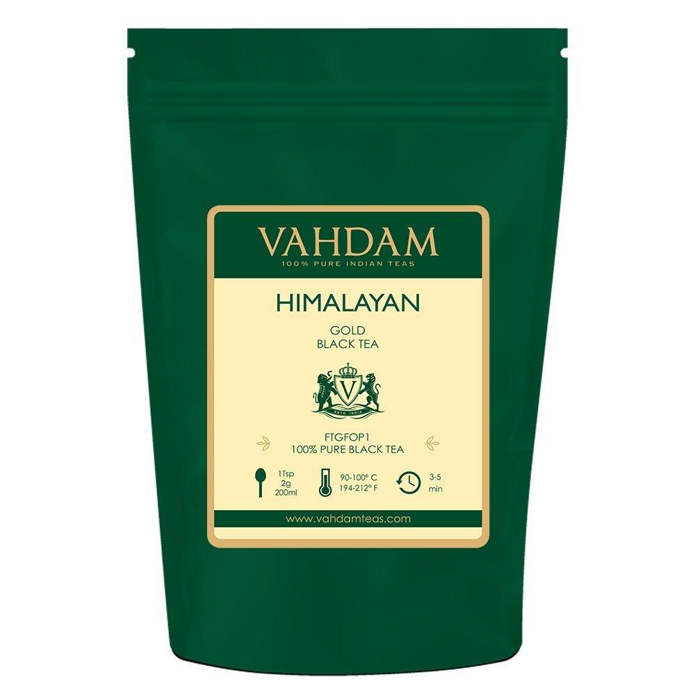 VAHDAM, Himalayan Gold Black Tea (50 Cups) | 100% PURE Black Tea Leaves with GOLDEN TIPS | ROBUST, RICH & FLAVORY Loose Tea | Black Tea Loose Leaf | Brew as Hot Tea, Iced Tea or Kombucha Tea | 3.53oz
