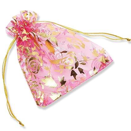 100 PCS Bolsas de regalo de organza Boda Favor Bolsas de embalaje de joyería, YFZYT Bolsas de organza Bronzing Diseño patrón flor para Bodas fiesta ...
