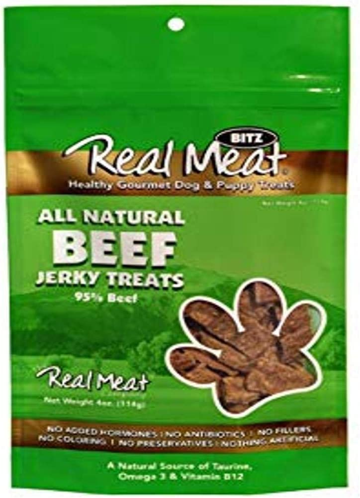 The Real Meat Company Jerky Treats for Dogs, All Natural Beef, 4 Ounce (Pack of 1)