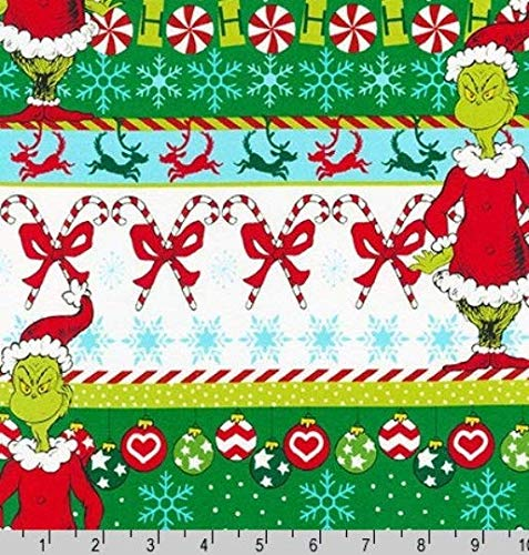 How the Grinch Stole Christmas Grinch Fabric- 1 Yard of Grinch Stripes from Dr Seuss ()
