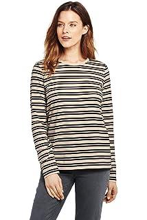 e0a5dda02a Lands' End Women's Supima Cotton Long Sleeve T-Shirt - Relaxed Crewneck  Stripe,