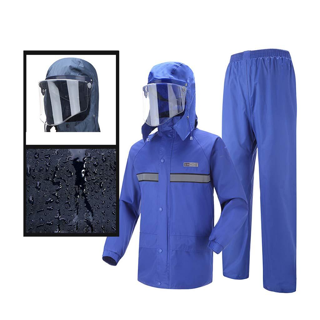 WEIFAN-raincoat Männer Frauen Wasserdichte Jacke Anzüge Winddicht Mantel Hosen Set Motorrad Regenmantel-Wasserabweisende Anzug, XL (Blau 1)