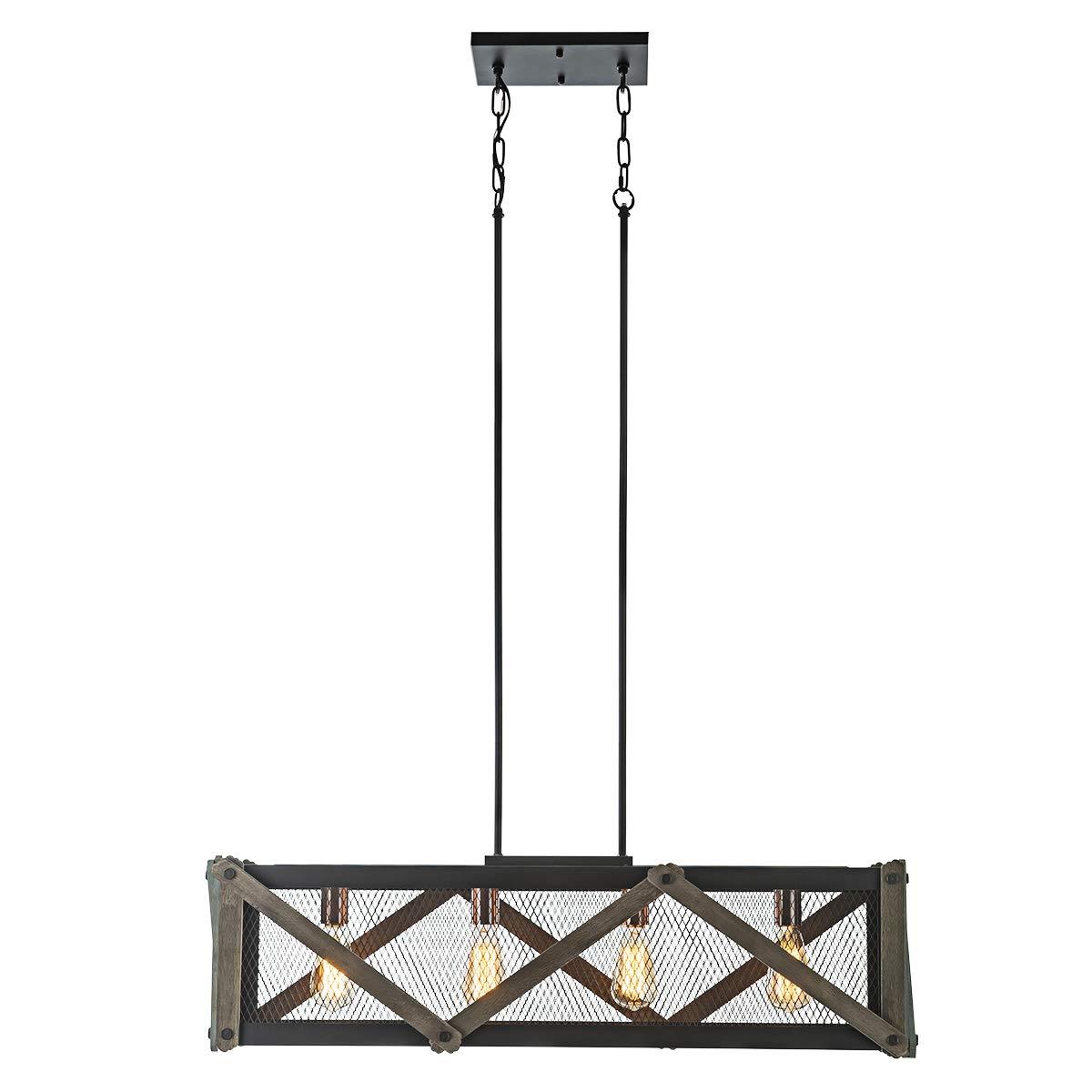 Lanros 4-Light Rustic Kitchen Island Pendant, Wood Rectangular Mesh Cage Chandelier with Matte Black Frame for Dining Room Table, Breakfast Bar