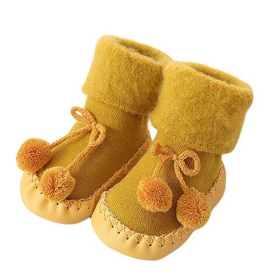 Mitlfuny Niños Niñas Invierno Calentar Suela de Goma Tejer Calcetines de Piso Zapatillas de Bola de pelo para Recién Nacido Bebé Antideslizantes Dibujo ...