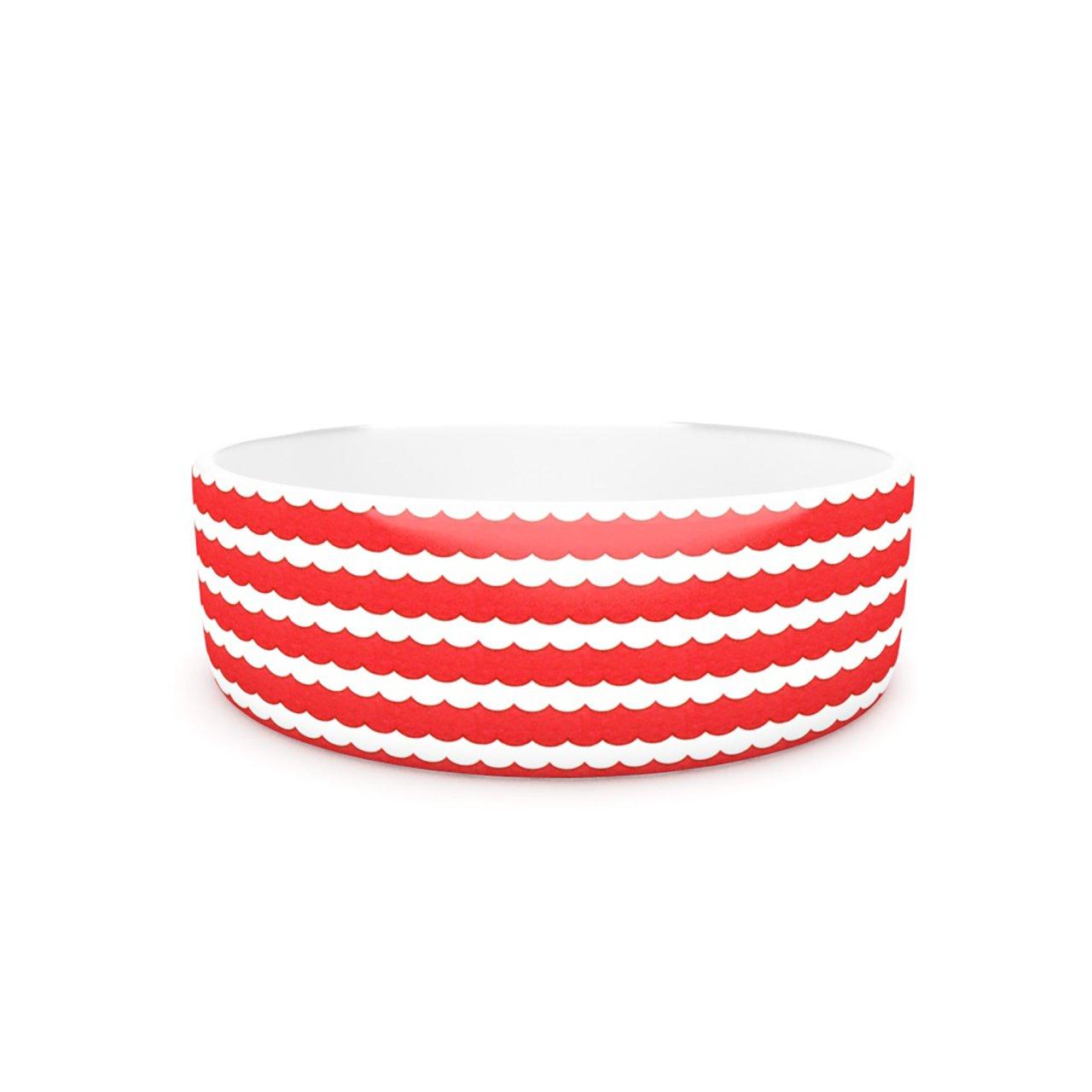 Kess InHouse Heidi Jennnings Feeling Festive  Pet Bowl, 7-Inch, Red White