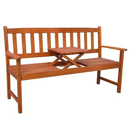 vidaXL Banc de Jardin Mobilier avec Table Escamotable Bois d ...