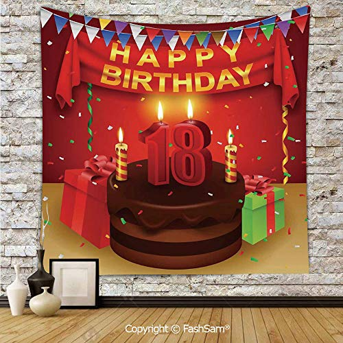 FashSam Polyester Tapestry Wall 18 Happy Birthday Party with Curtains Cakes Baloons Image Hanging Printed Home -