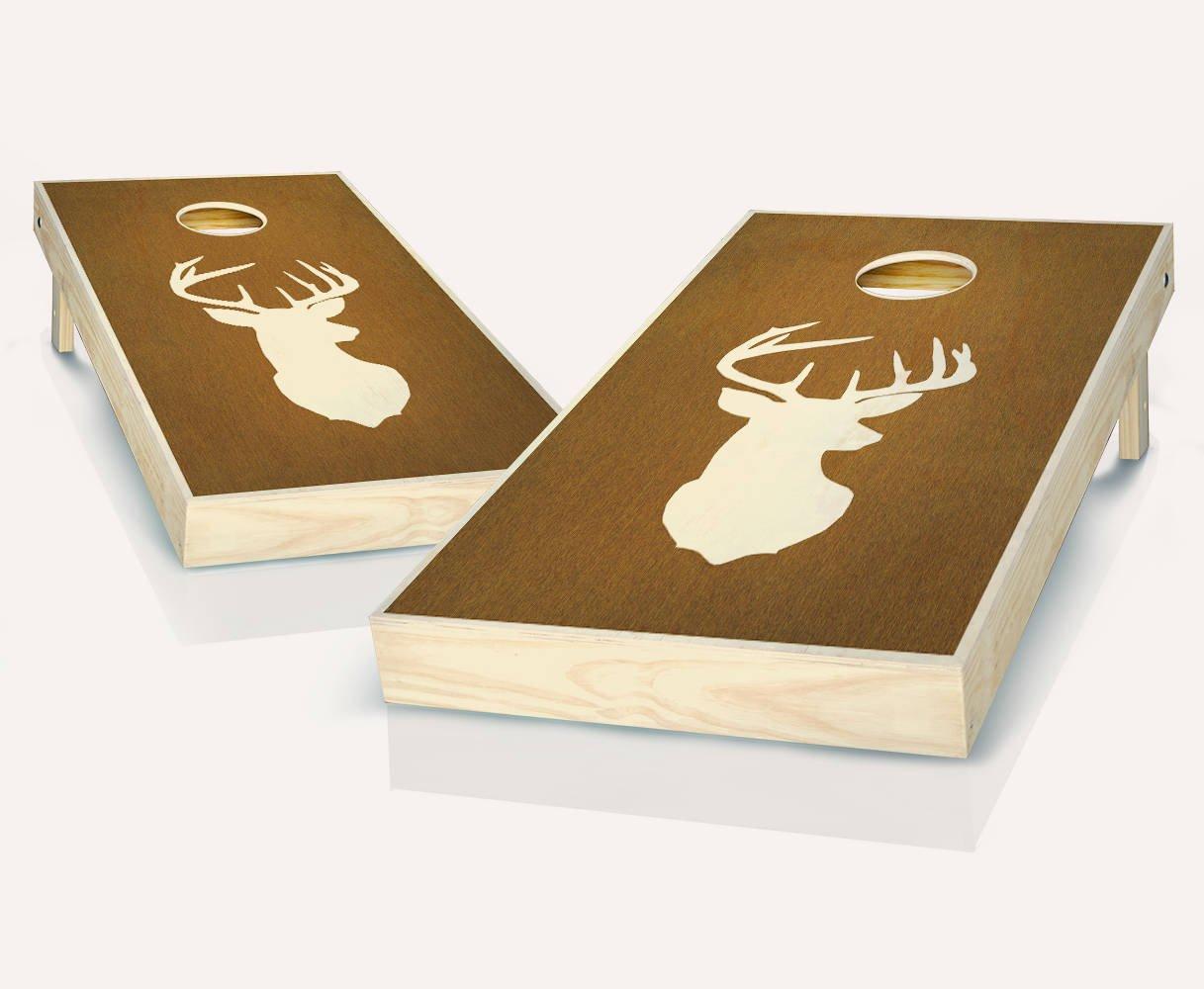 Buck Deer Head Chestnut StainedカスタムCornholeボードregulation sizeゲームセットBaggo Bean Bag Toss + 8 ACA Regulation Bags B07CMDG41S