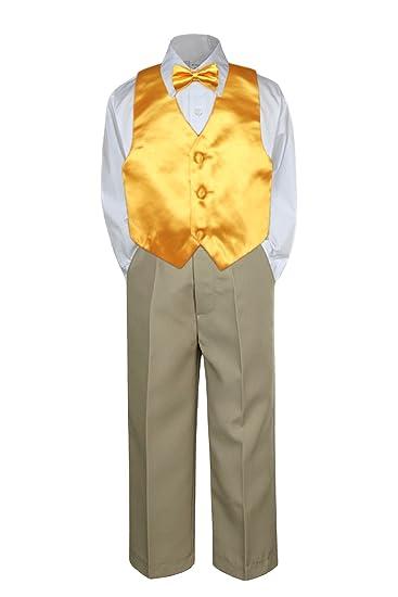 Amazon.com: leadertux 4pc Formal Baby bebé Boys Amarillo ...