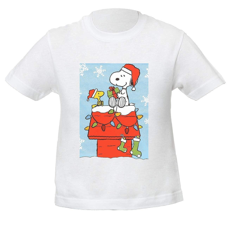 Snoopy Christmas Natale Time Bambini Unisex Ragazzi Ragazze Maglietta Bianco Kids Unisex Boys Girls White T-Shirt Tshirt T Shirt