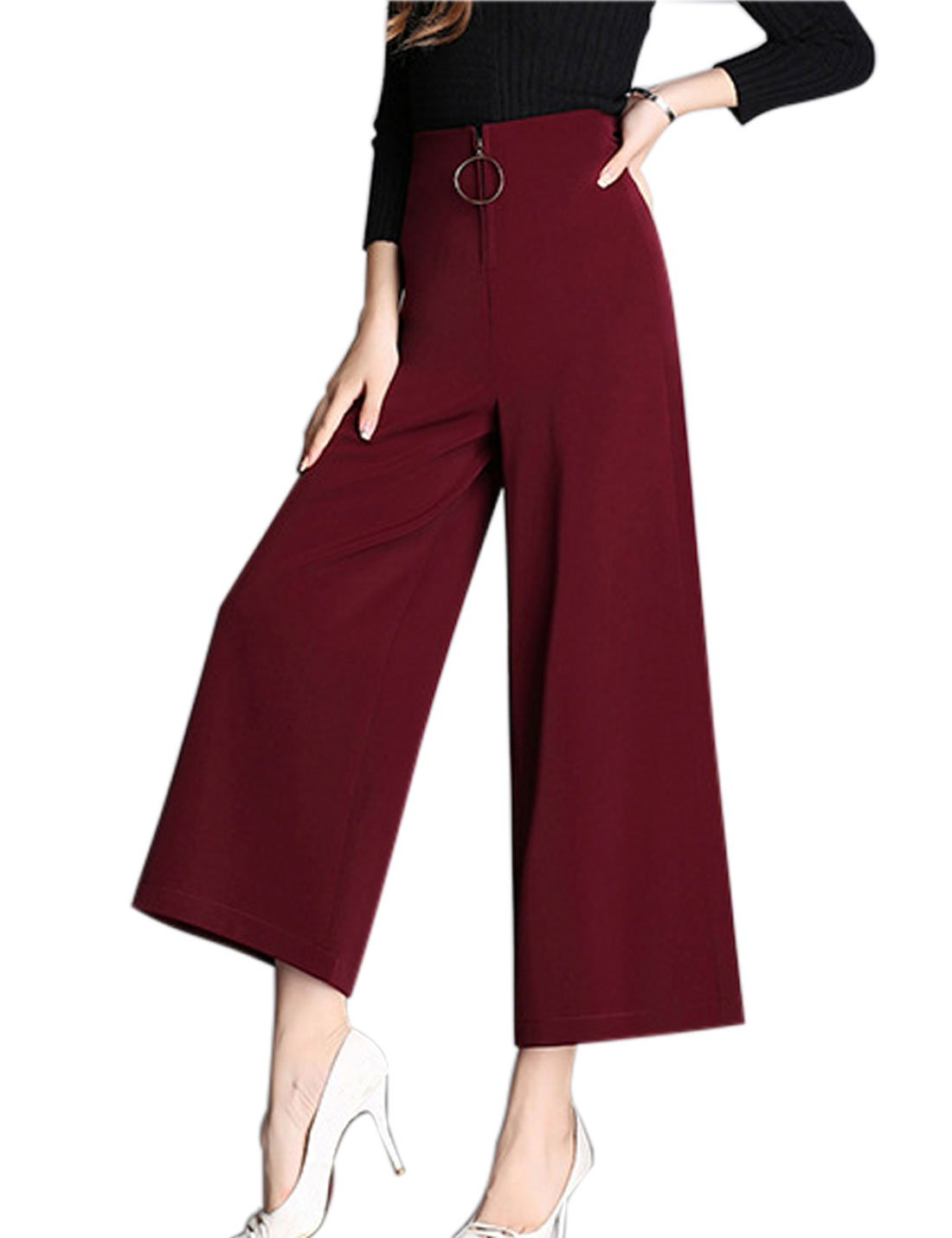 Tanming Women's Black and Red High Waist Cropped Wide Leg Pants Three Color (Small, Dark Red)