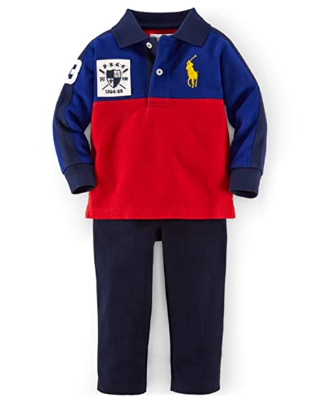 Ralph Lauren Polo Baby Boys Big Pony Rugby camiseta & pantalones ...
