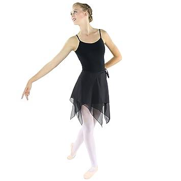 Danzcue Mujer Falda de abrigo la danza Ballet asimétrica Pequeña pequeña Negro