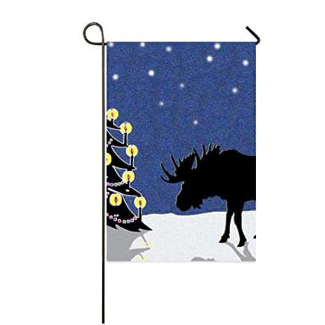 bernie gresham garden flag cover with candlelit christmas tree and moose colorful garden yard decorations holiday