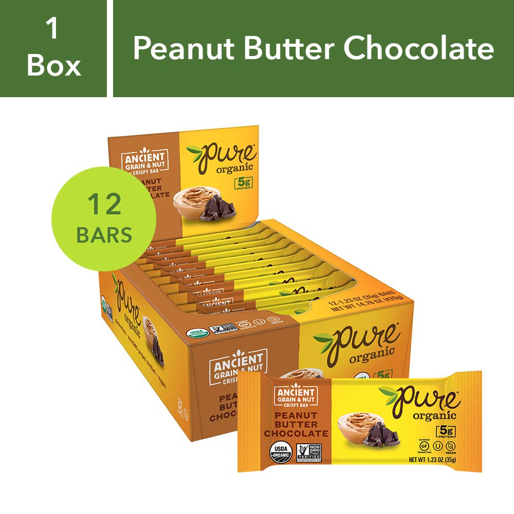 Pure Organic Peanut Butter Chocolate, Ancient Grain and Nut Crispy Bar,  Gluten-Free, Certified Organic, Non-GMO, Vegan,  Kosher, Plant Based Whole Food Nutrition Bar, 1.23 ounce (Pack of 12) by Pure Organic
