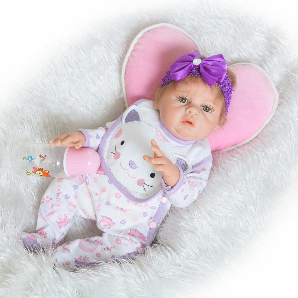 TUJHGF Simulation Reborn Baby Puppe Silikon Echt Süß Mädchen Puppe Kind Spielzeug Kreative Geschenk 50 cm