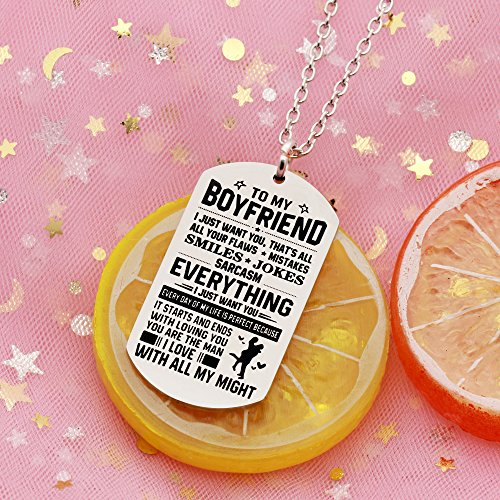 AGR8T Pendant Necklace Valentine Boyfriend Gift From Girlfriend - To My Boyfriend Everything I Just Want You by AGR8T (Image #3)