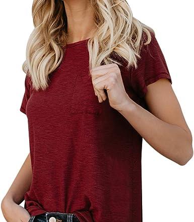QinMM Camiseta básica de algodón Suelta para Mujer, Camisa ...