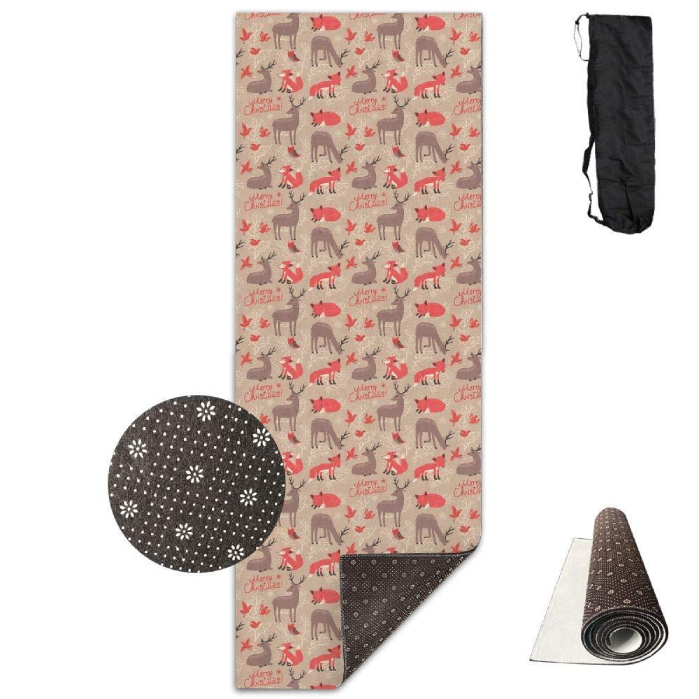 Christmas Pattern Deer Foxes Yoga Mat Towel for Bikram Hot Yoga, Yoga and Pilates, Paddle Board Yoga, Sports, Exercise, Fitness Towel