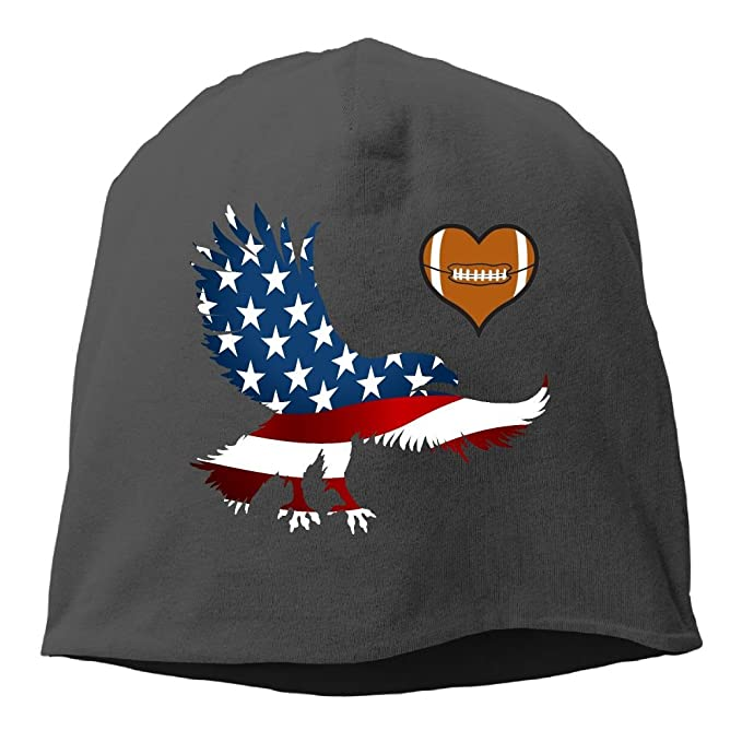 1d7e261946ded Image Unavailable. Image not available for. Color  American Eagles Flag USA  Love Football hearts Cable Knit Skull Caps Thick Soft ...