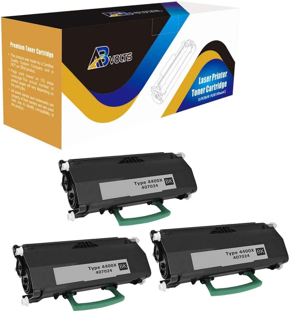 Black,3-Pack AB Volts Compatible Toner Cartridge Replacement for Ricoh 407024 for Aficio SP4410SF