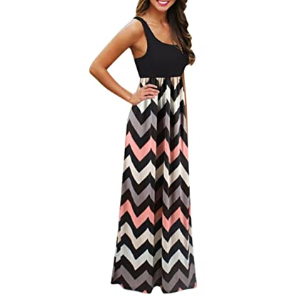 bb14b5fc8d2 Snowfoller Womens Wave Striped Long Maxi Dress Sexy Ladies Sleeveless Beach  Summer Sundress Plus Size (