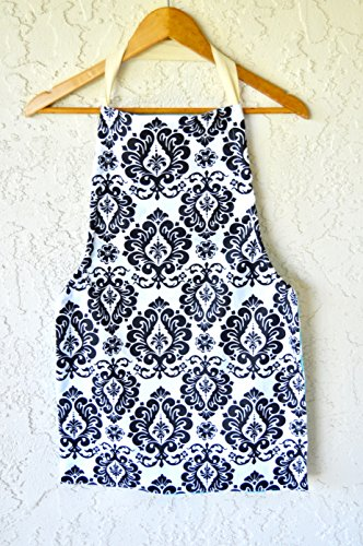 Girls apron in beautiful prints fits tweens age 8-11 reversible. by White Rabbit Custom