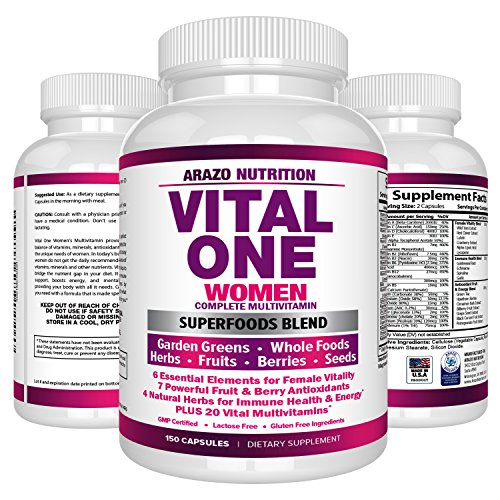 VITAL ONE Multivitamin for Women - Daily Wholefood Supplement - 150 Vegan Capsules - Arazo Nutrition