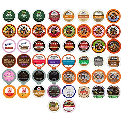 Pack Variety Pods Coffee (Coffee, Tea, and Hot Chocolate Variety Sampler Pack for Keurig K-Cup Brewers, 50 Count)