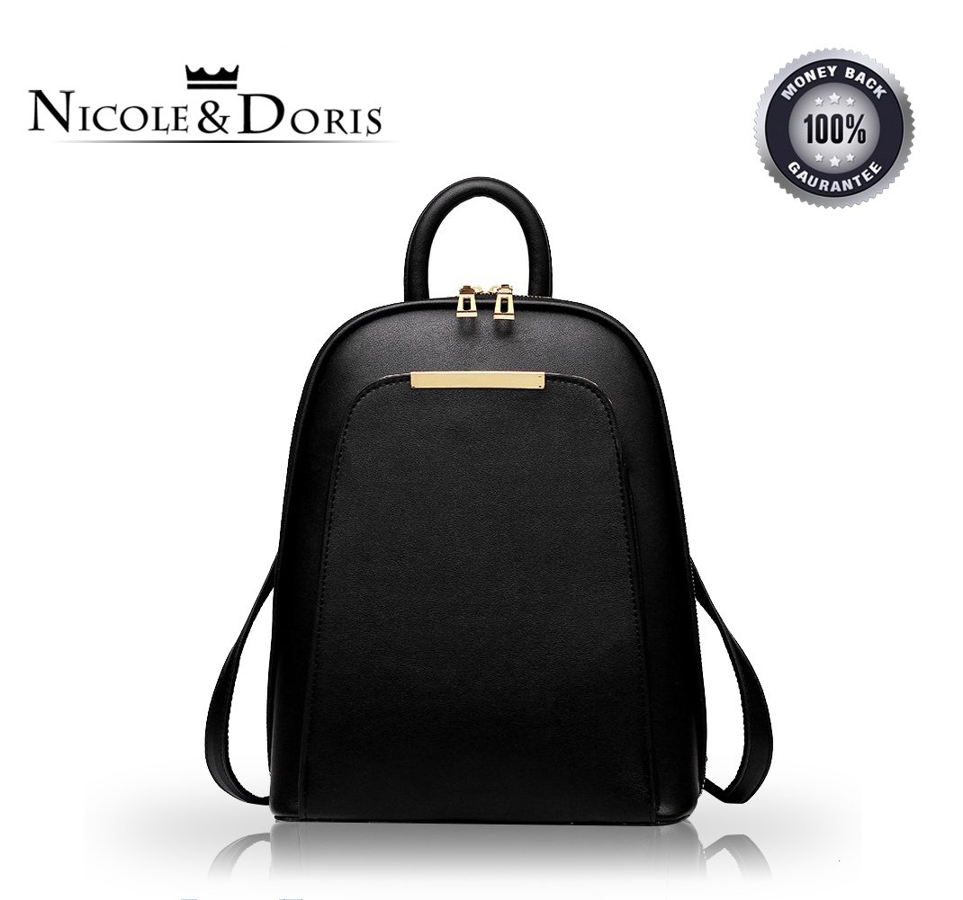 NICOLE&DORIS New trend backpack shoulder bag ladies/women dual-use college wind fashion travel bag for students(Black)
