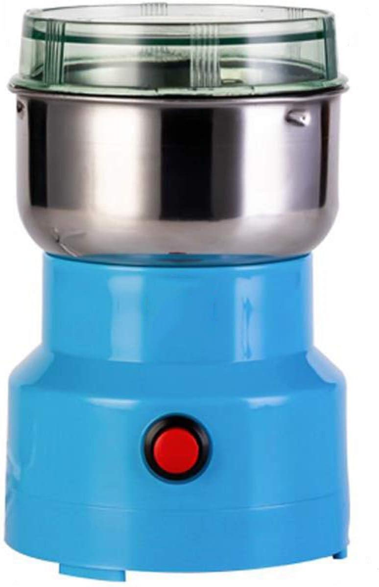 110V Multifunction Electric Smash Machine,Electric Coffee Grinder,Grain Spice Beans Grinder Maker with 4r-leaf Stainless Steel Blades,Blue