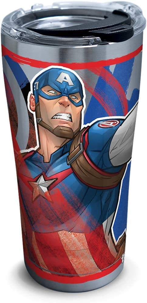 Tervis Marvel - Captain America Iconic Insulated Travel Tumbler with Lid, 20oz - Stainless Steel, Silver