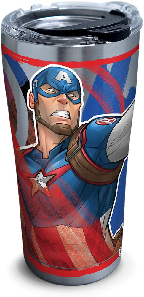 Silver 30oz Tervis 1319362 Marvel Stainless Steel Captain America Iconic Insulated Travel Tumbler with Lid