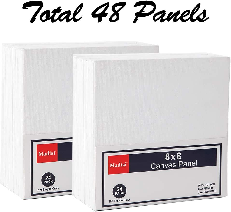 Madisi Painting Canvas Panels 48 Pack 8X8,Classpack Paint Canvas