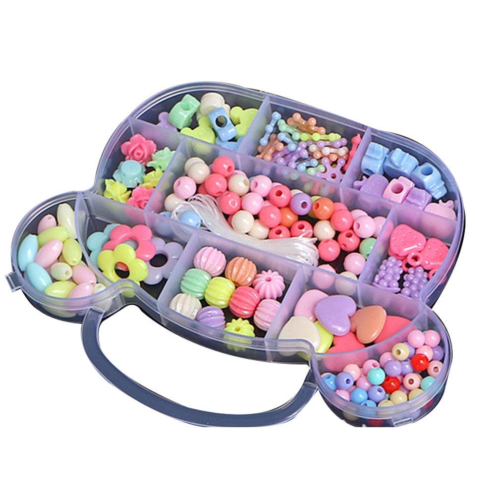 Perlina Kidsset per creazione gioielli–Craft kit perline per bambine fai da te collane braccialetto bambini regalo acrilico colorato a mano in rilievo set accessori giochi per bambini (grande orso) Hemore