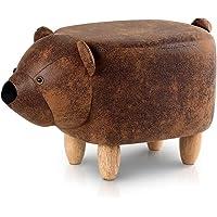 Artiss Kids Animal Stool Chair Bear Footstool Ottoman, Brown