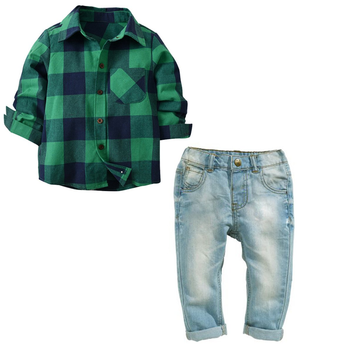 AIKSSOO Kids Outfit Clothes Boys 2 Piece Long Sleeve Plaid Shirt and Denim Jeans Clothing Sets Size 2-3 Years (Green Plaid)