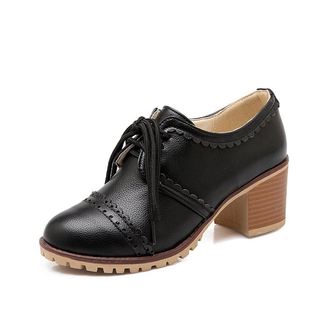 ac367708a607 Susanny Classic Retro Pu Oxfords Brogue Shoes Women's Mid-Heel Wingtip Lace  up Dress Black Shoes 5 B (M) US