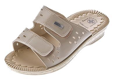Damen Clogs Weiszlig; Schwarz Beige Pantoletten Gel Effekt Latschen Gesundheits Schuhe Antibakteriell Sandalette
