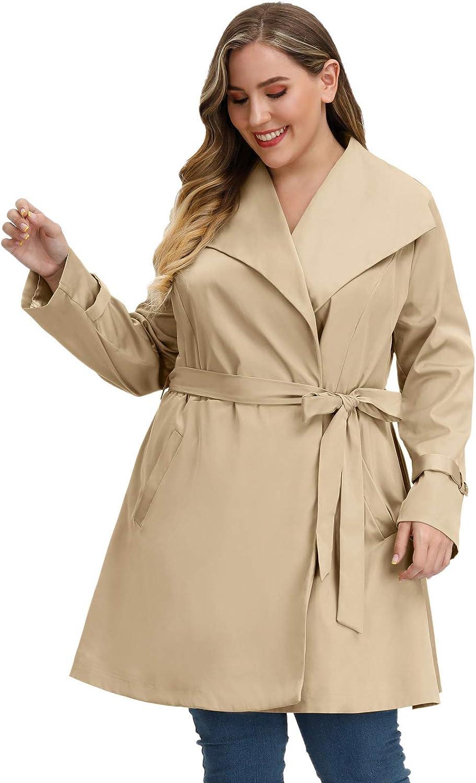 Hanna Nikole Women Plus Size Trench Coat Long Lapel Collar Jacket Windbreaker