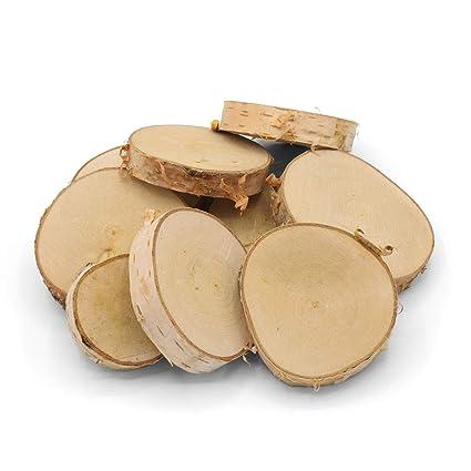 Greenhaus Holzscheiben 5 10 Cm 20 Stück Birkenholz Birkenscheiben Baumscheiben Untersetzer Basteln Holz Scheibe Holzdeko